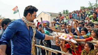 Tollywood Actor Dipak Adhikary Interacts With Youth During An Election Campaign Rally