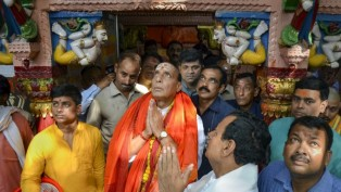 Union Home Minister and senior BJP leader Rajnath Singh offers prayers at Vindhyavasini temple