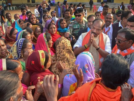Jharkhand Chief Minister And BJP Candidate Raghubar Das Interacts With Villagers During His Election