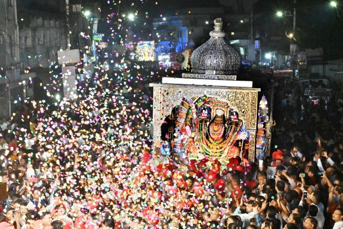 Devotees Carrying A 400 Kg Silver Temple By A Committee Carrying The Idol Of Durga For Immersion, In