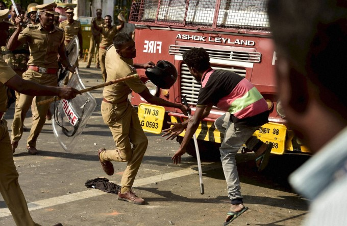 Police Use Force To Break Chennai Marina Jallikattu Protest