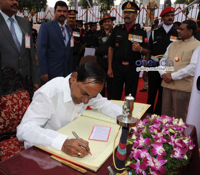 CM KCR Signed In The Visitors Book At Veerula Sainik Smarak