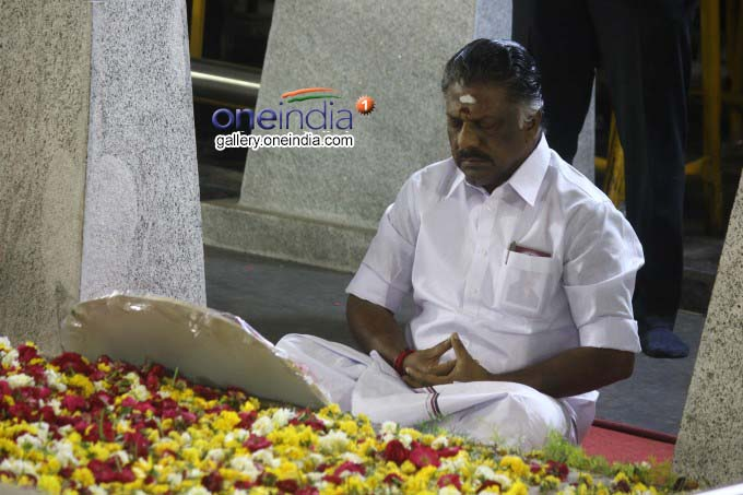 Former TN CM O Panneerselvam Press Meet At Marina Beach In Chennai