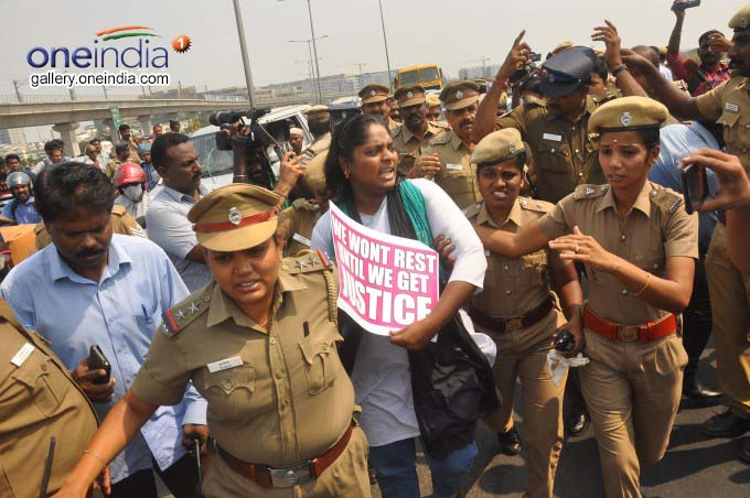 Youths Protest At Chennai Kathipara Flyover