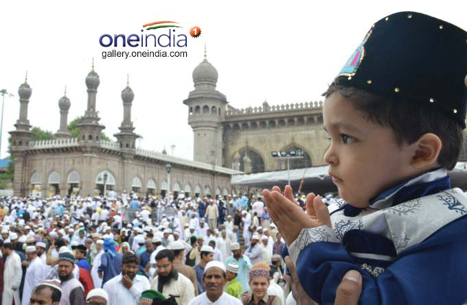 Muslims Offer Prayers On The Occasion Of Ramzan In Hyderabad