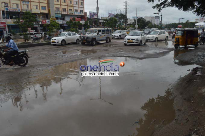Damaged Roads In Hyderabad Due To Heavy Rains
