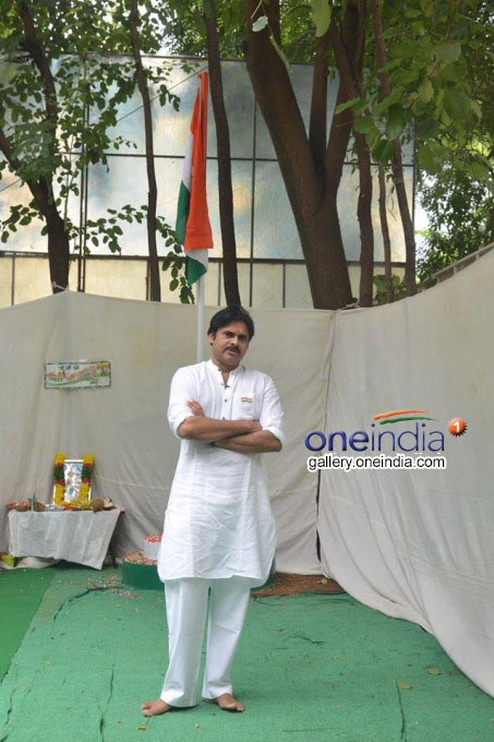 Photo Gallery: Jana Sena Chief Pawan Kalyan Flag Hoisting At Party Office
