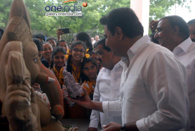 Photo Gallery: KT Rama Rao Presents Eco Ganesh To School Children At Shilpa Kala Vedika