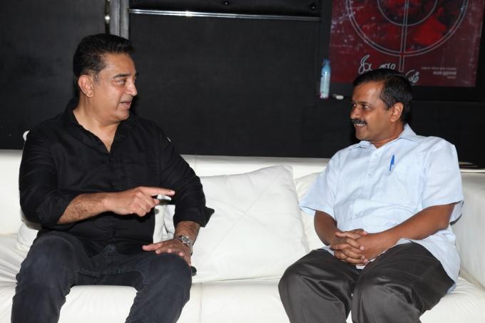 Delhi CM Arvind Kejriwal Meets Actor Kamal Hassan In Chennai