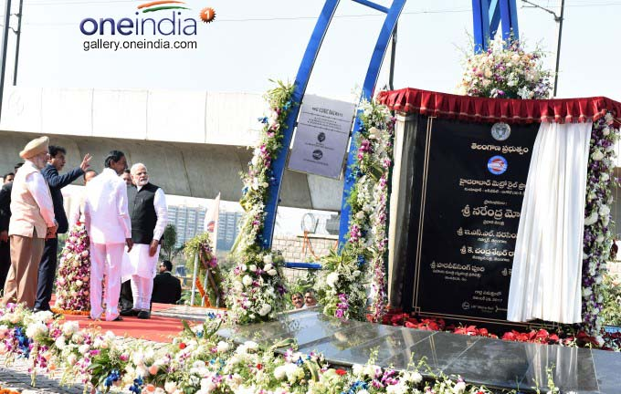 PM Narendra Modi Flag-Off Hyderabad Metro Rail