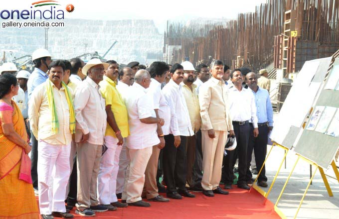 AP CM N Chandrababu Naidu Visits Polavaram Project