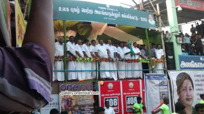 TN CM Edappadi K. Palaniswami And DCM O. Paneerselvam Unveil Alanganallur Jallikattu