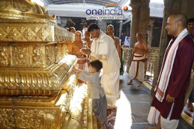 AP CM N Chandrababu Naidu Family Visits Tirumala Temple