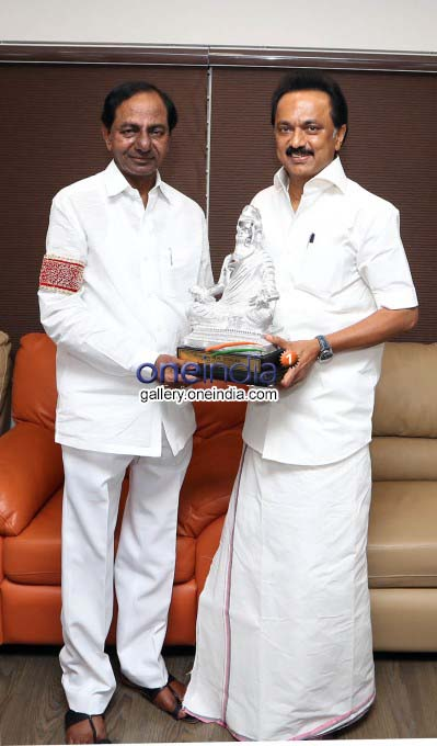 Telangana CM KCR Meets DMK Leader MK Stalin And Karunanidhi