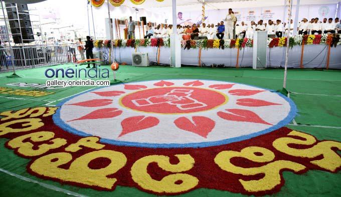 AP CM N Chandrababu Naidu Participates In Nava Nirmana Deeksha In Vijayawada