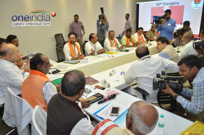 BJP President Amit Shah Meets Telangana Party Leaders In Hyderabad