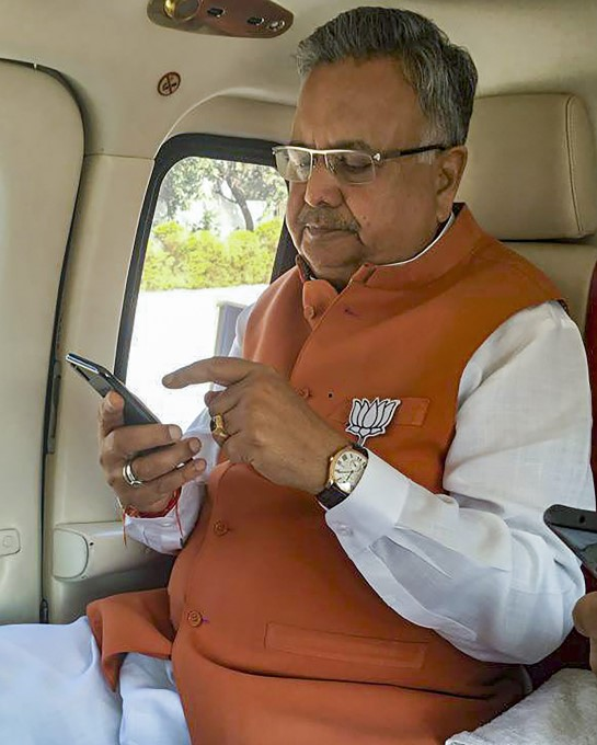 Chhattisgarh Chief Minister Raman Singh During A Campaign Trail For Chhattisgarh Assembly Election