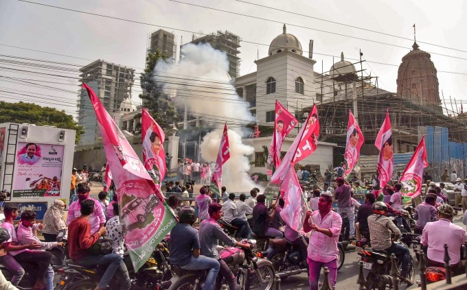 TRS Supporters And Workers Celebrate Party's Victory