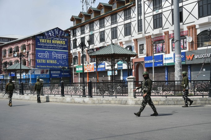 Army Personnel Stand Guard During Tight Restrictions, In J&K