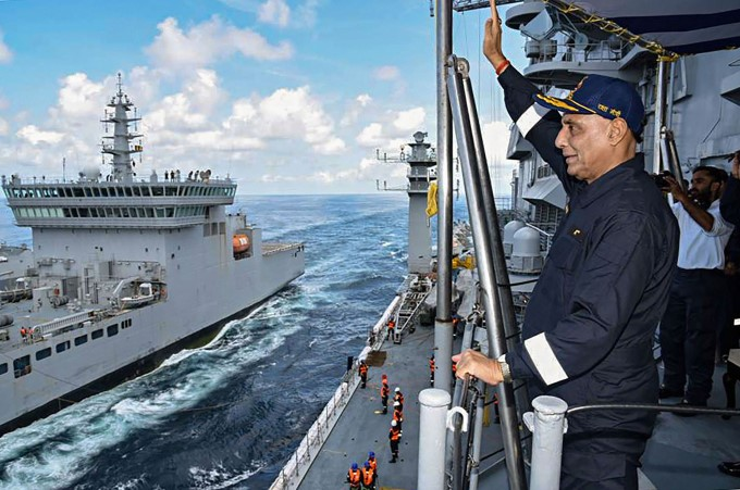 Defence Minister Rajnath Singh On Board The Aircraft Carrier INS Vikramaditya