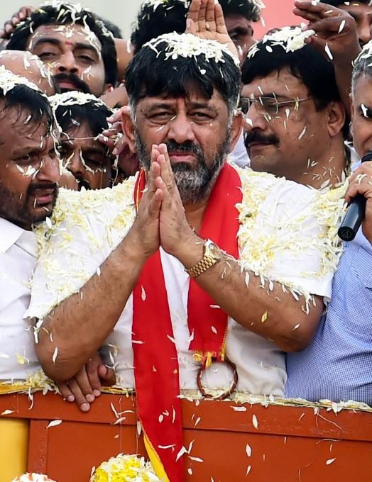 DKS Return: Rousing Welcome To Karnataka Congress Leader