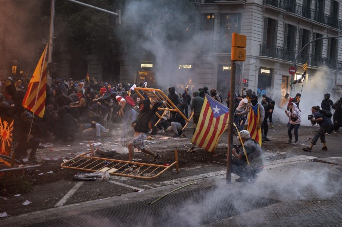 Protest Erupts After Pro Catalan Strike In Barcelona