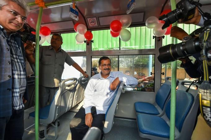 Delhi CM Arvind Kejriwal Flags Off Standard Floor Buses