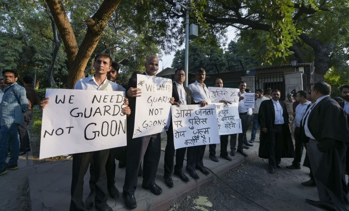 Lawyers Protest At District Court In Delhi