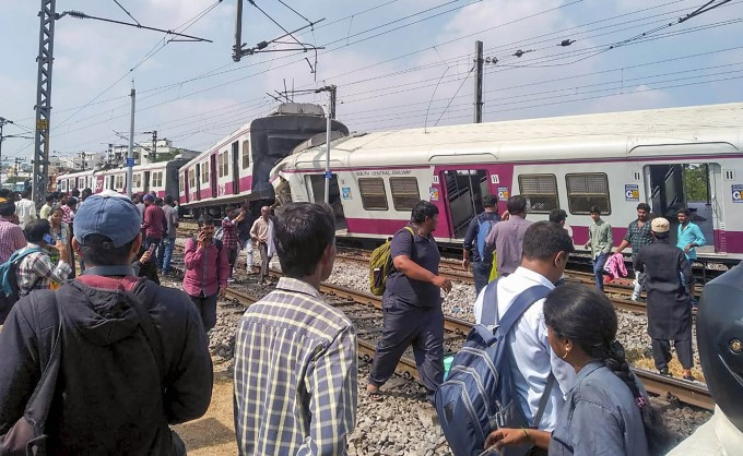 Two Trains On Same Track Collide At Railway Station In Hyderabad