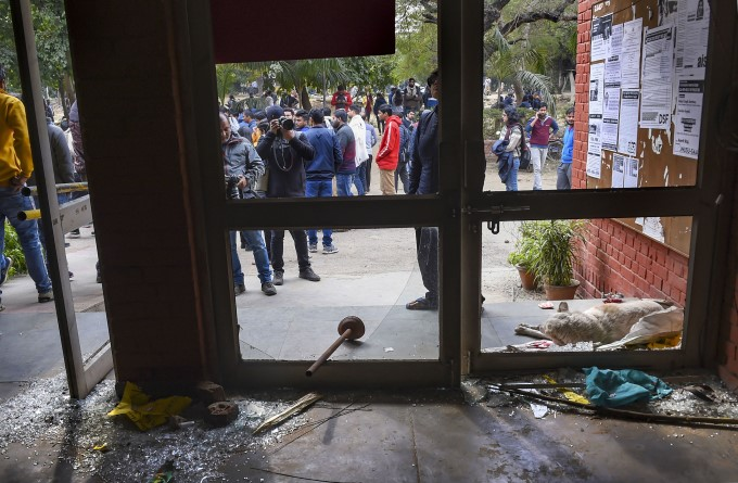 Masked Mob Attacks JNU Students And Teachers