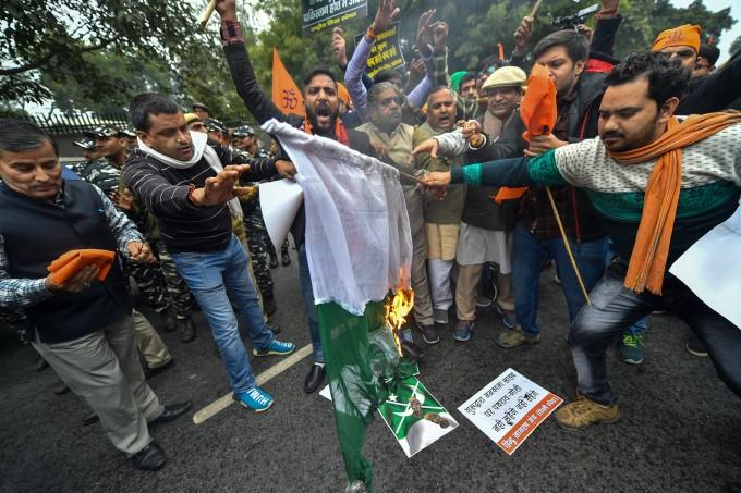Protest Against Pakistan Over Attack On Gurdwara Nankana Sahib