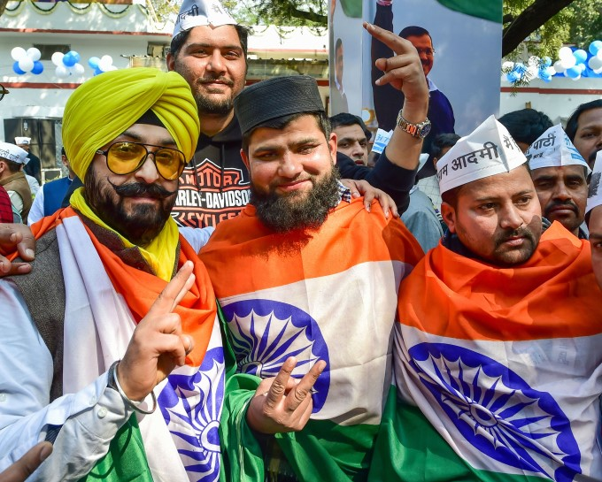 AAP Supporters Celebrates Party's Victory In Delhi Election 2020