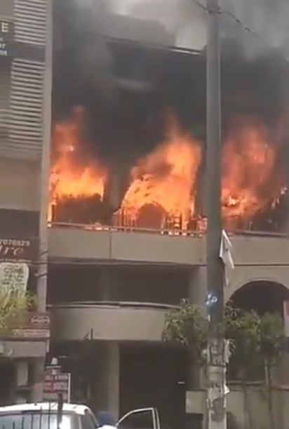 Fire Breaks Out At A Residential Buiding In Delhi's Anand Vihar