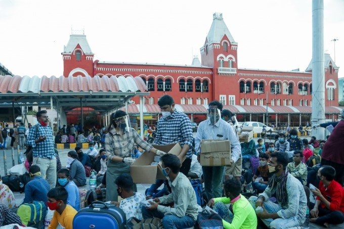Migrants Wait To Board A Shramik Train At Chennai Central Railway Station