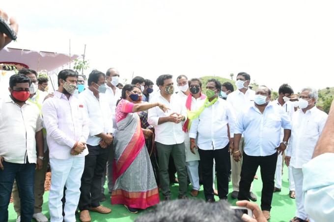 Minister Of MA & UD K.T. Rama Rao, During Haritha Haram Program At Vedurugatta