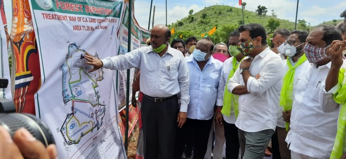 Minister Of MA & UD K.T. Rama Rao, During Haritha Haram Program At Vedurugatta