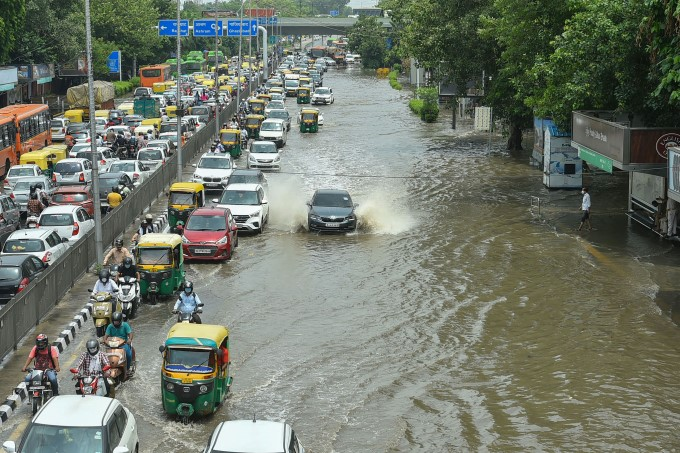 Waterlogging In Delhi Roads Due To Rainfall