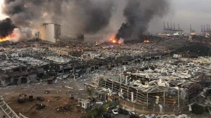Before And After Image Shows The Impact Of Explosion In Beirut.