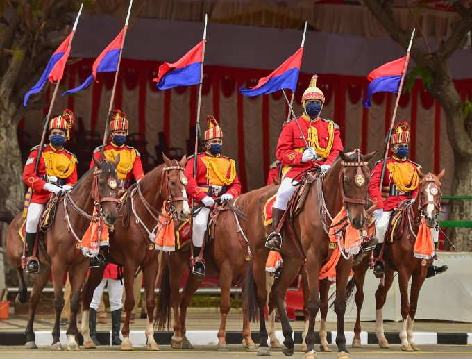 Tamil Nadu Police Contingent During Full Dress Rehearsals For The 74th Independence Day Celebrations