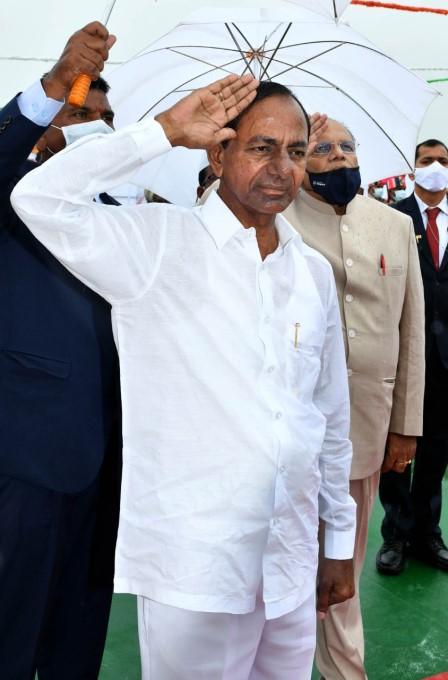 Telangana CM KCR During 74th Independence Day Celebrations In Pragathi Bhagavan