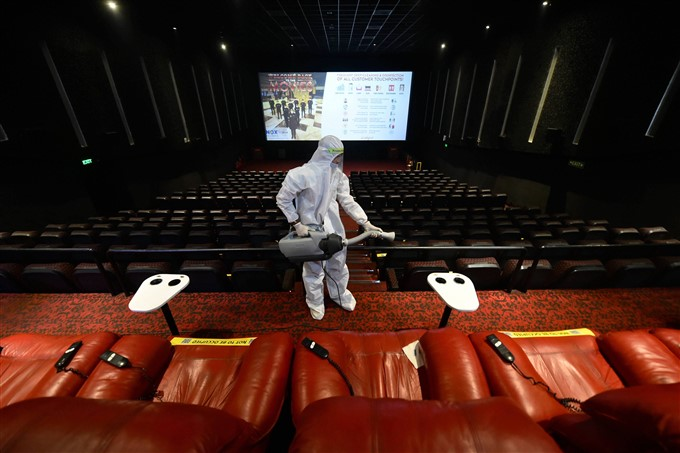 Preparations Underway At A Cinema Hall Ahead Of Its Reopening