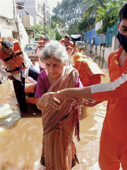 NDRF Personnel Carry Out A Rescue Operation Following Heavy Rain, In Hyderabad