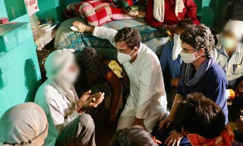 Priyanka And Rahul Gandhi Meet Hathras Victim's Family