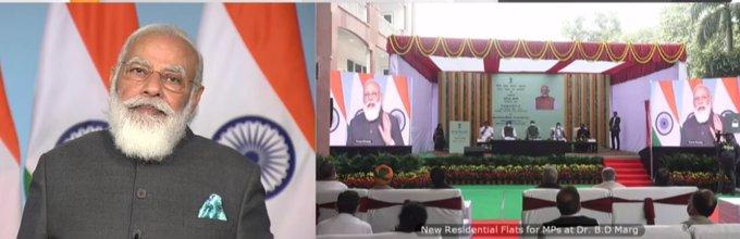 PM Modi Inaugurates Multi-storeyed Flats For Members Of Parliament
