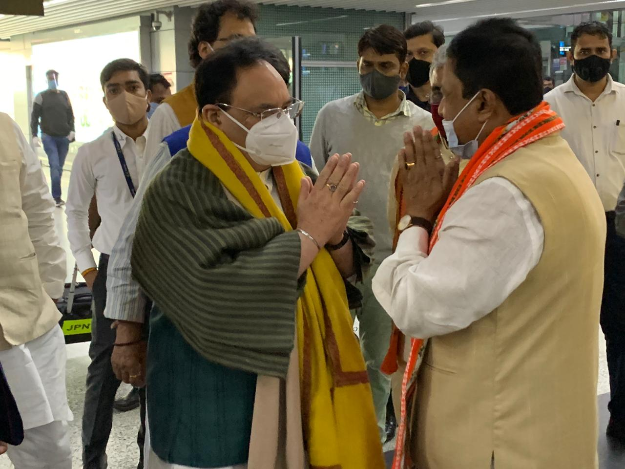 Shri. JP Nadda, National President Welcomed At Kolkata International Airport