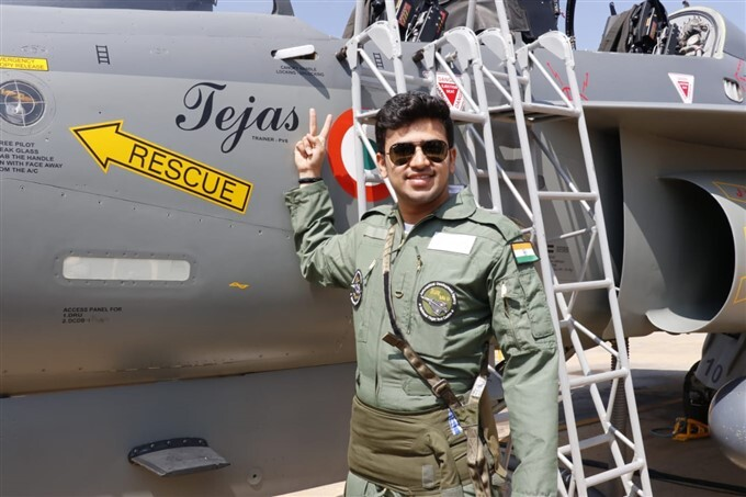 Karnataka MP Tejasvi Surya Flies LCA Tejas At Aero India 2021