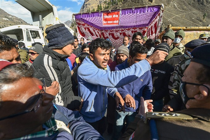 Family Members Of Workers Who Went Missing At Tapovan-Vishnugad Hydel Project In Chamoli