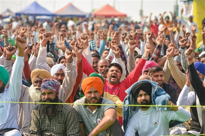 ಚಿತ್ರಗಳು : ನೂತನ ಕೃಷಿ ಕಾಯ್ದೆಗಳ ವಿರುದ್ಧ ಮುಂದುವರಿದ ರೈತರ ಪ್ರತಿಭಟನೆ