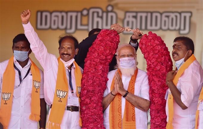 ఫోటోలు: పుదుచ్చేరిలో ప్రధాని మోడీ ఎన్నికల ప్రచారం