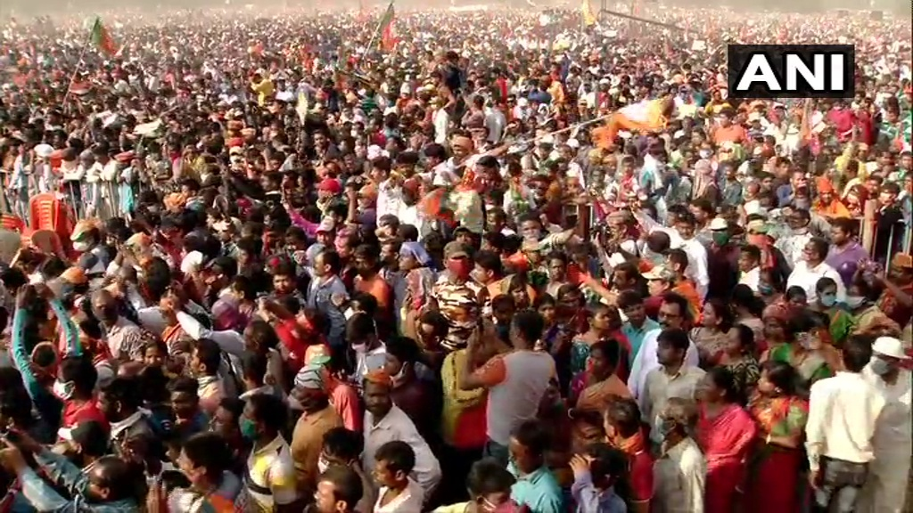 மேற்கு வங்க சட்டசபை தேர்தல்: பிரமாண்ட பொதுக்கூட்டத்தில் பிரதமர் மோடி பிரசாரம்